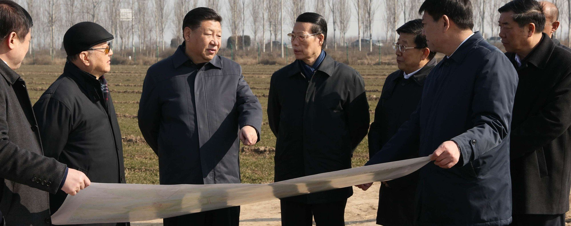 President Xi Jinping inspects plans for the Xiongan New Area. Photo: Xinhua