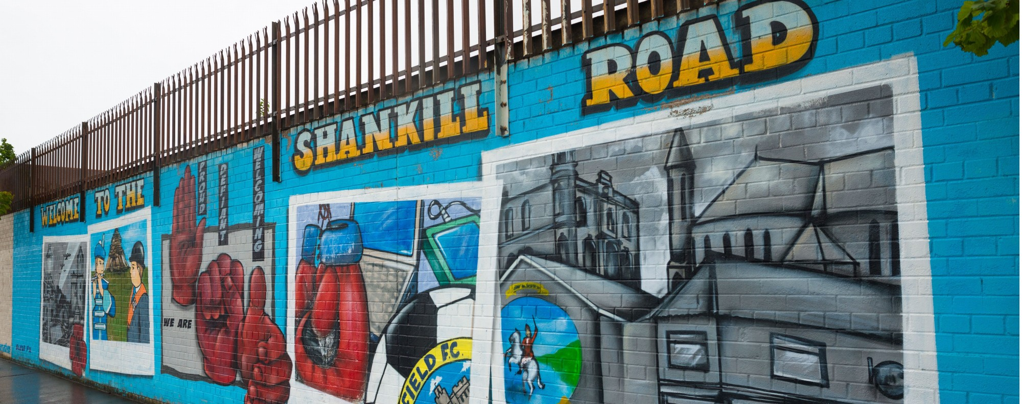 The Loyalist side of the Peace Gate, in Belfast, Northern Ireland. Picture: Alamy