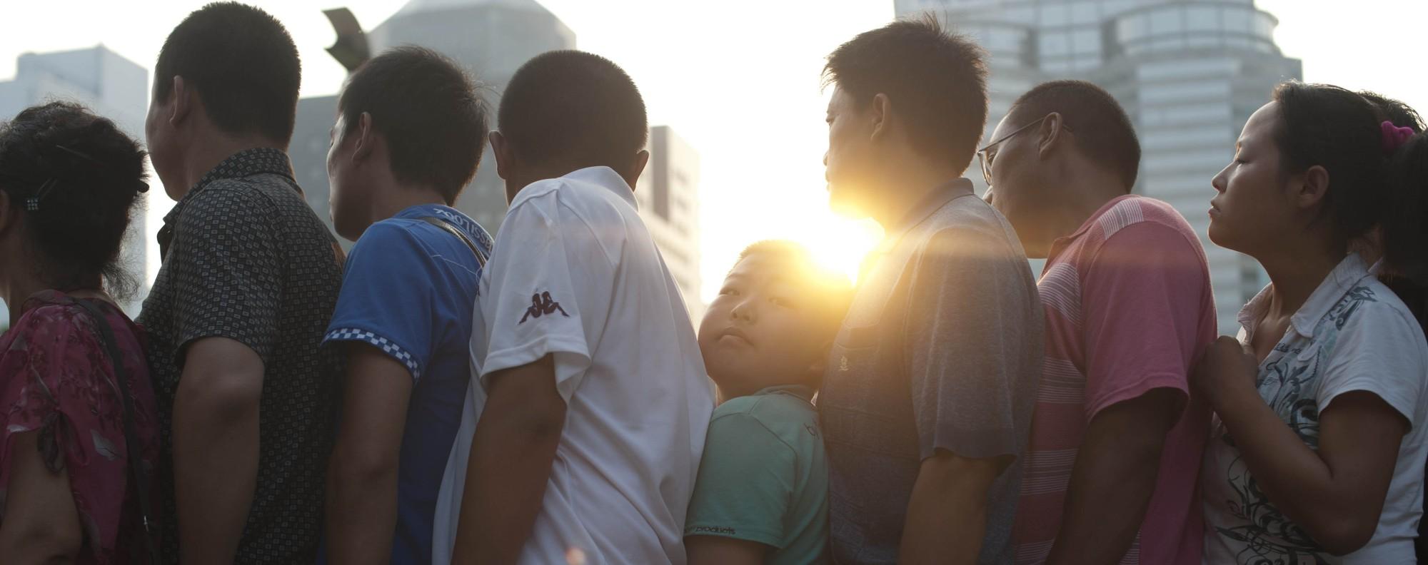 Parents queue to consult doctors at a children's hospital in Beijing.