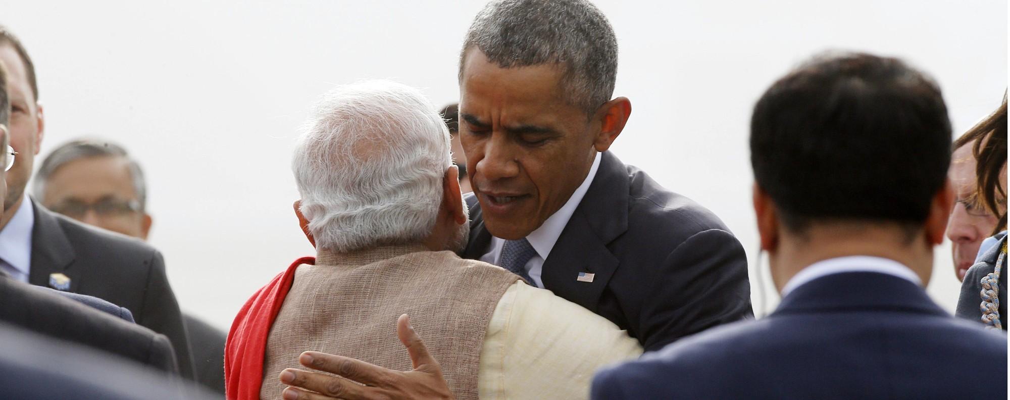 US President Barack Obama hugs India's Prime Minister Narendra Modi. Photo: Reuters