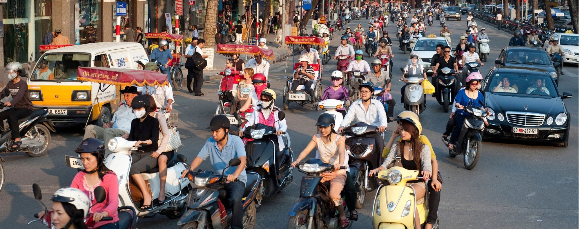 Motobikes fill the roads in Hanoi, Vietnam. Handout photo