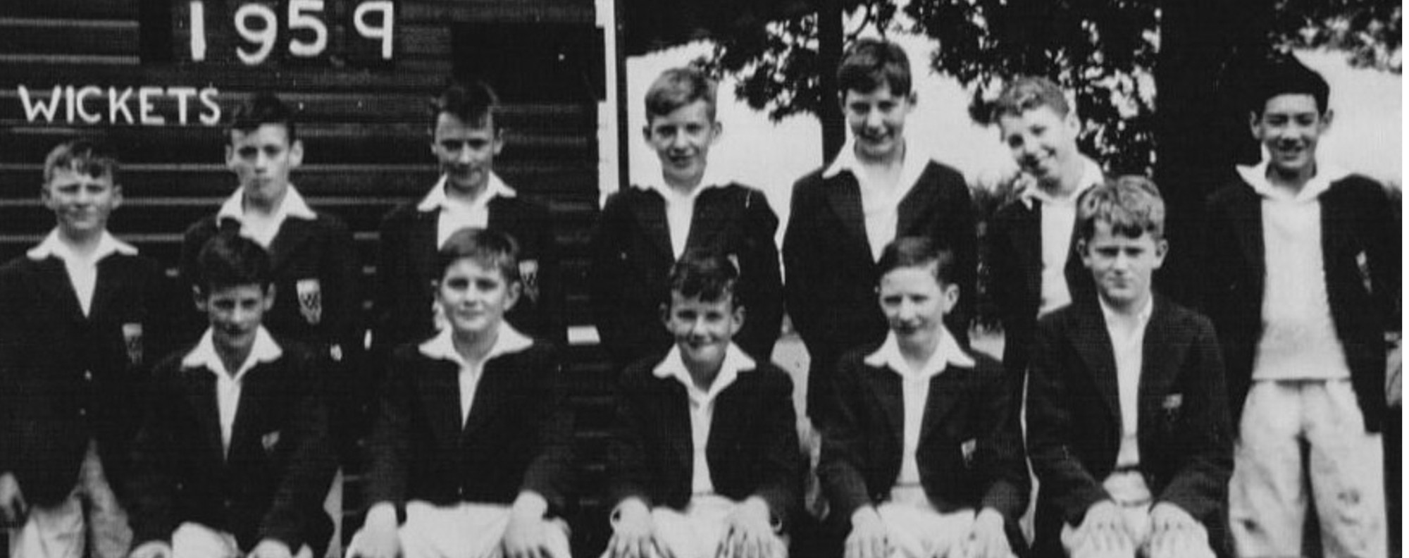 Ian Gill (far right) in the under-14s cricket team at Ratcliffe College.