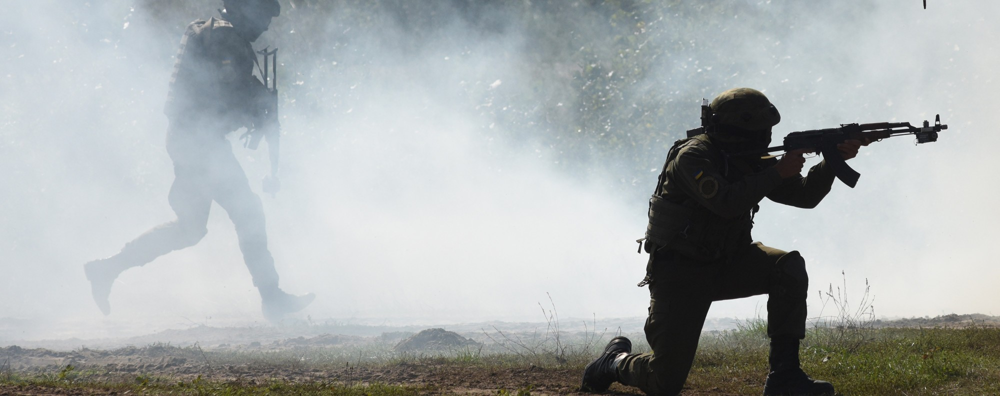 A training exercise by Ukrainian soldiers. Photo: AFP