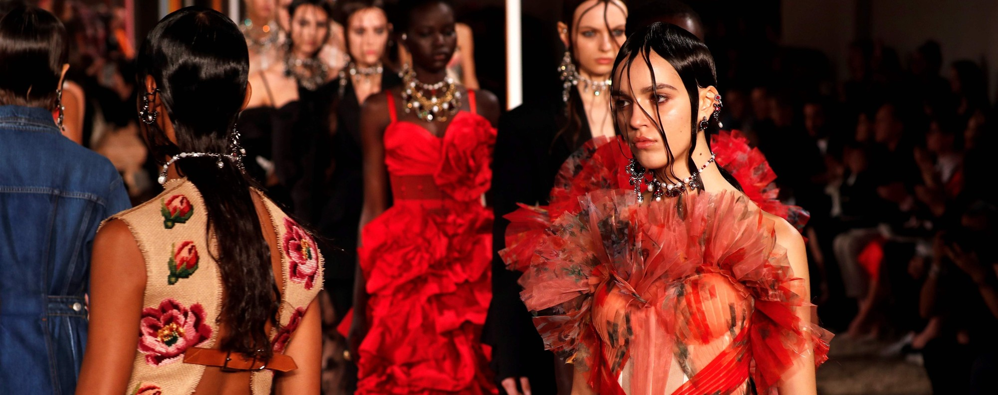 Models present creations by Alexander McQueen during the women's 2018 spring/summer ready-to-wear collection fashion show in Paris. Photo: AFP