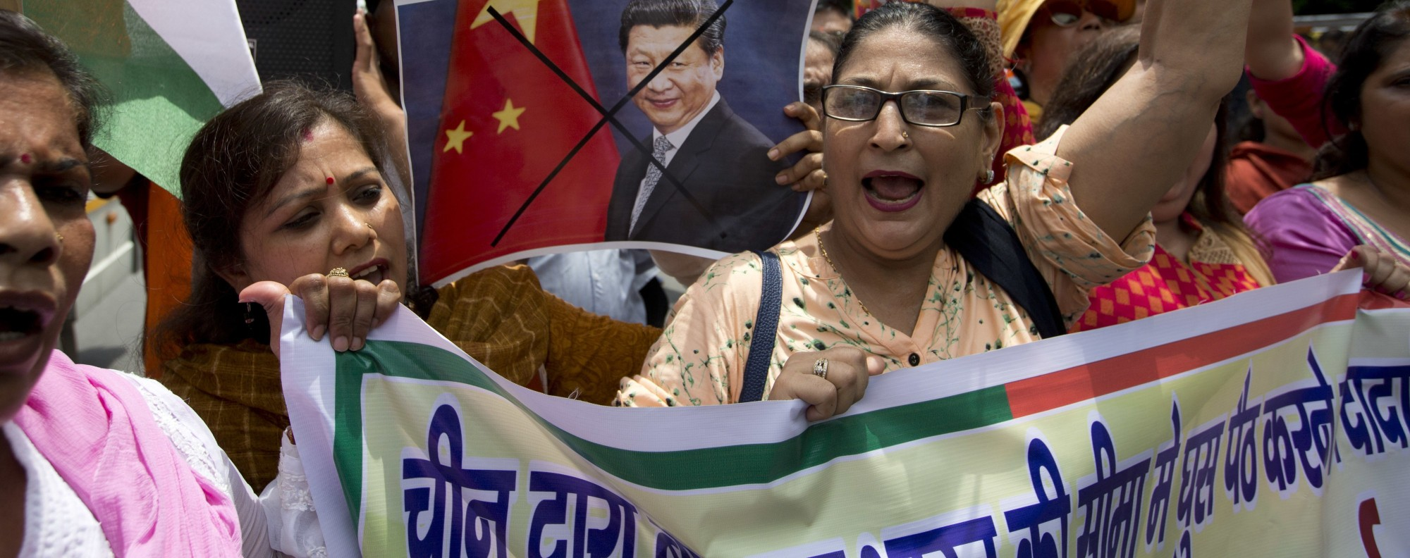 Indians protest against Chinese products. Photo: AP