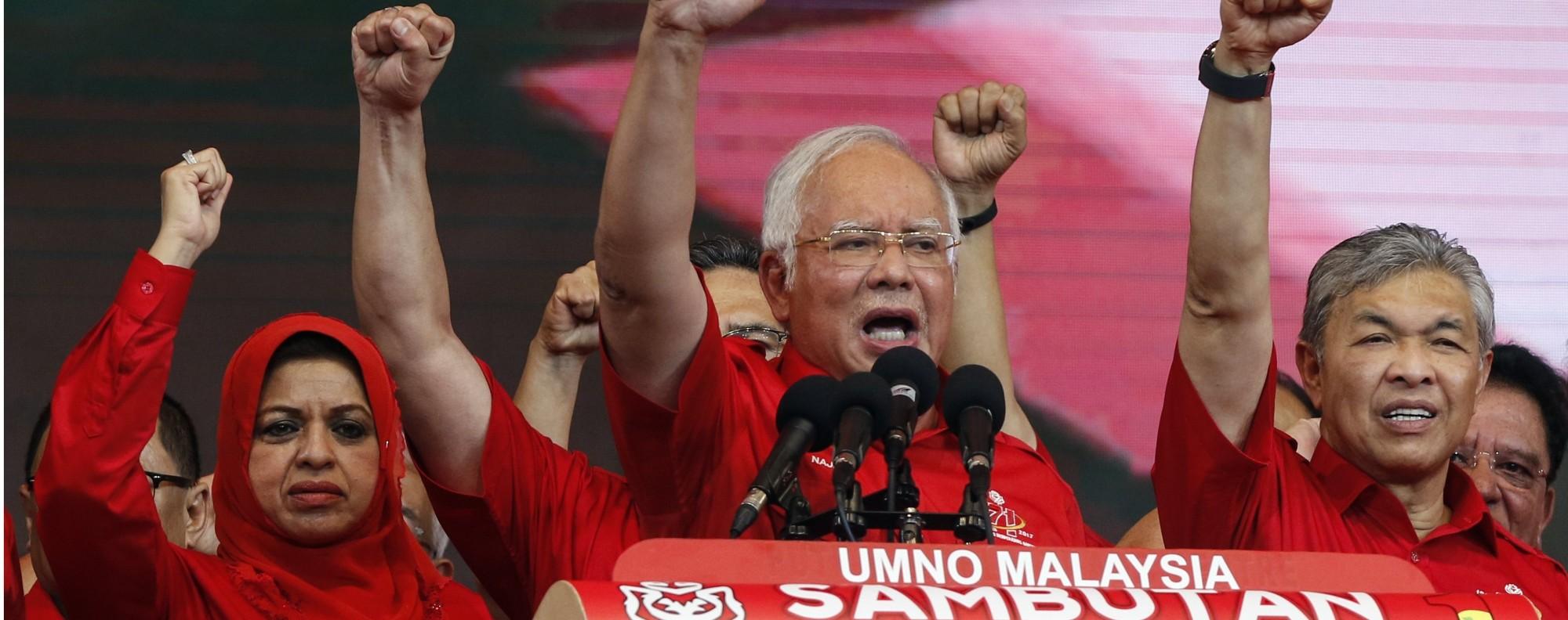 Najib Razak and Umno supporters. Photo: EPA