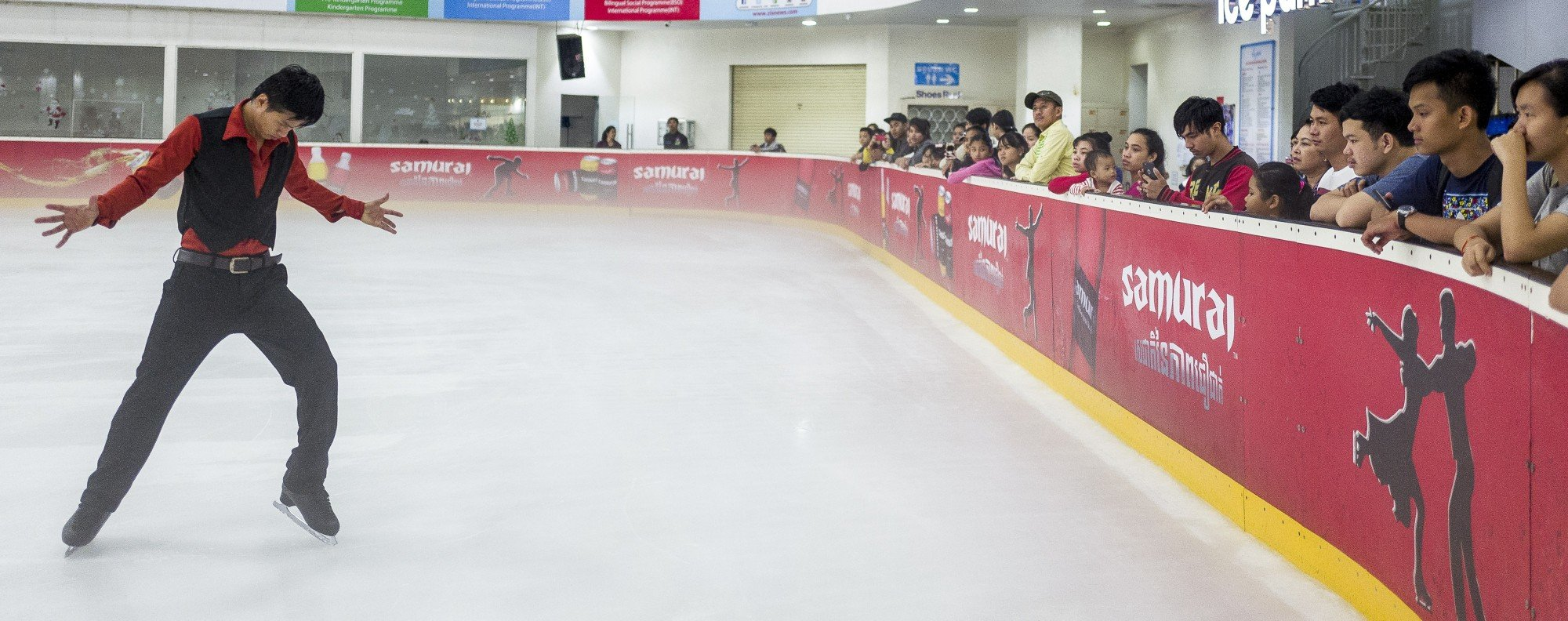 Sen Bunthoeurn practises his competition routine in Phnom Penh's Aeon Mall Ice Rink.