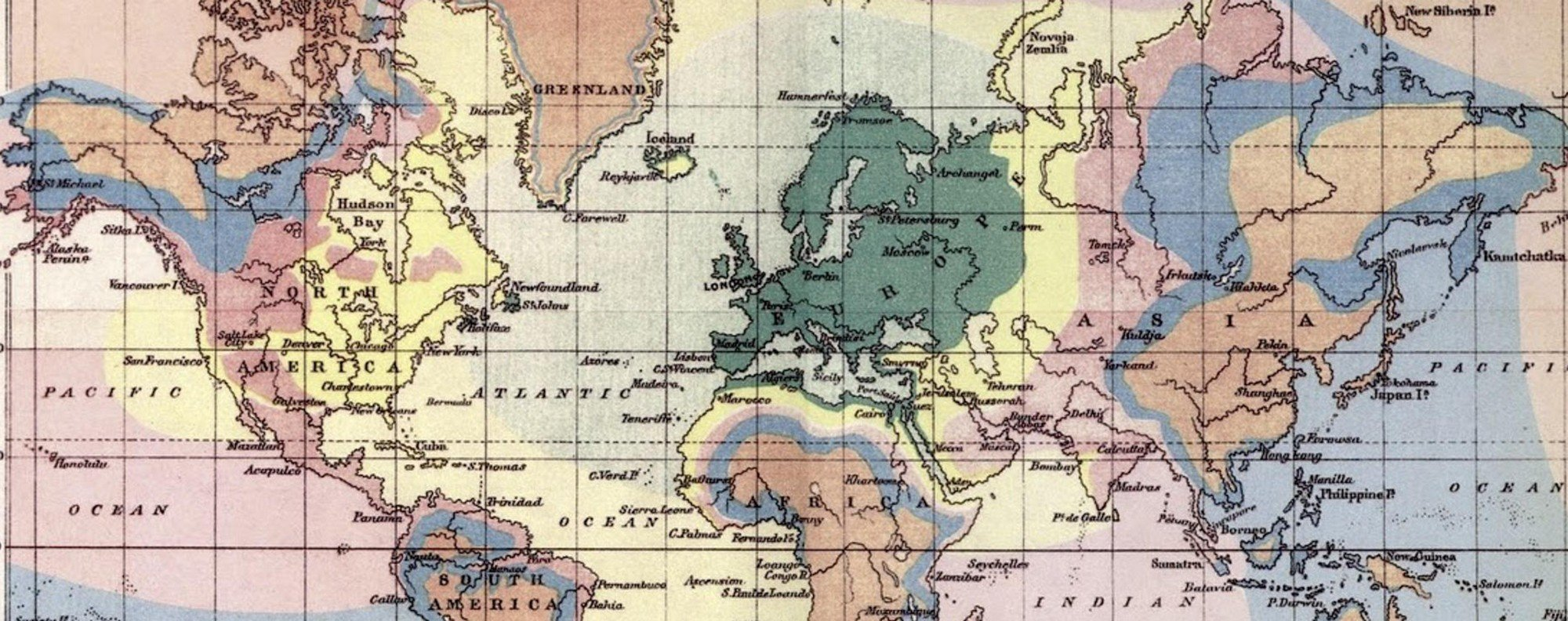An isochronic map by Francis Galton.