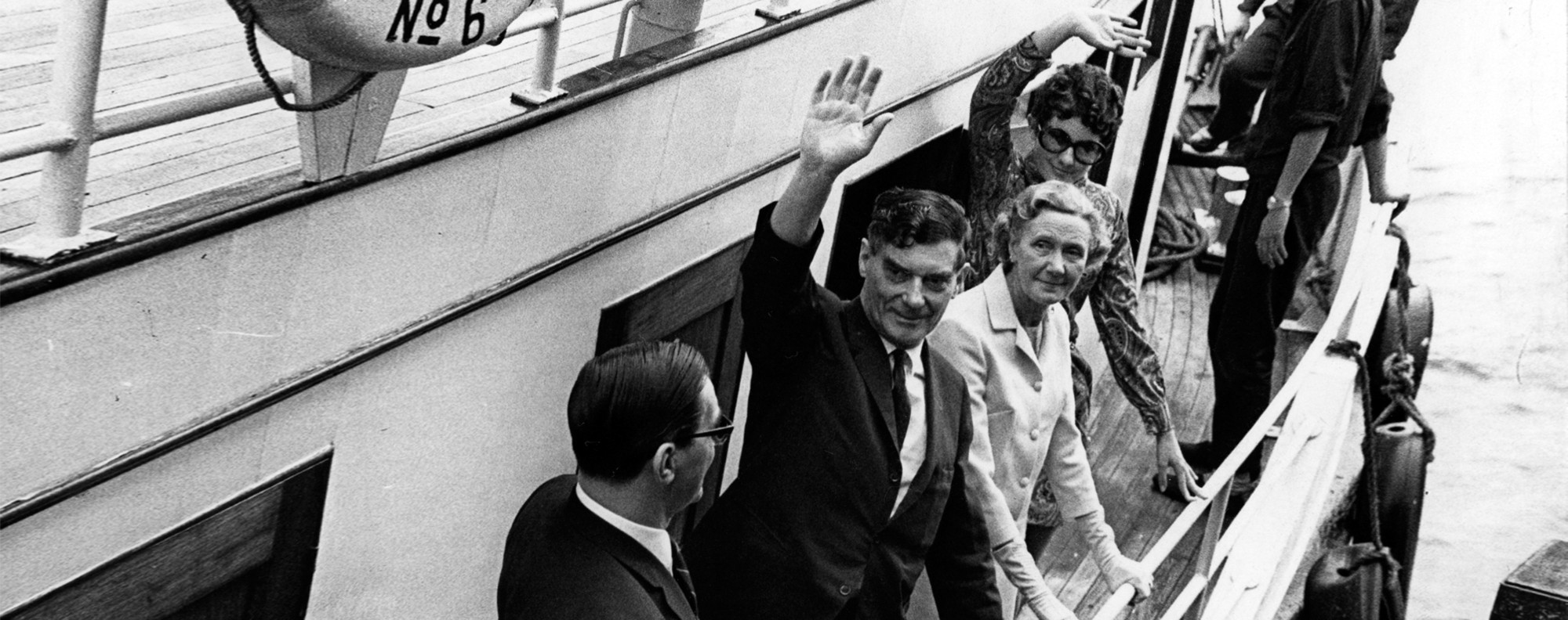 Michael Wright waves farewell at Queen's Pier, on March 28, 1969.