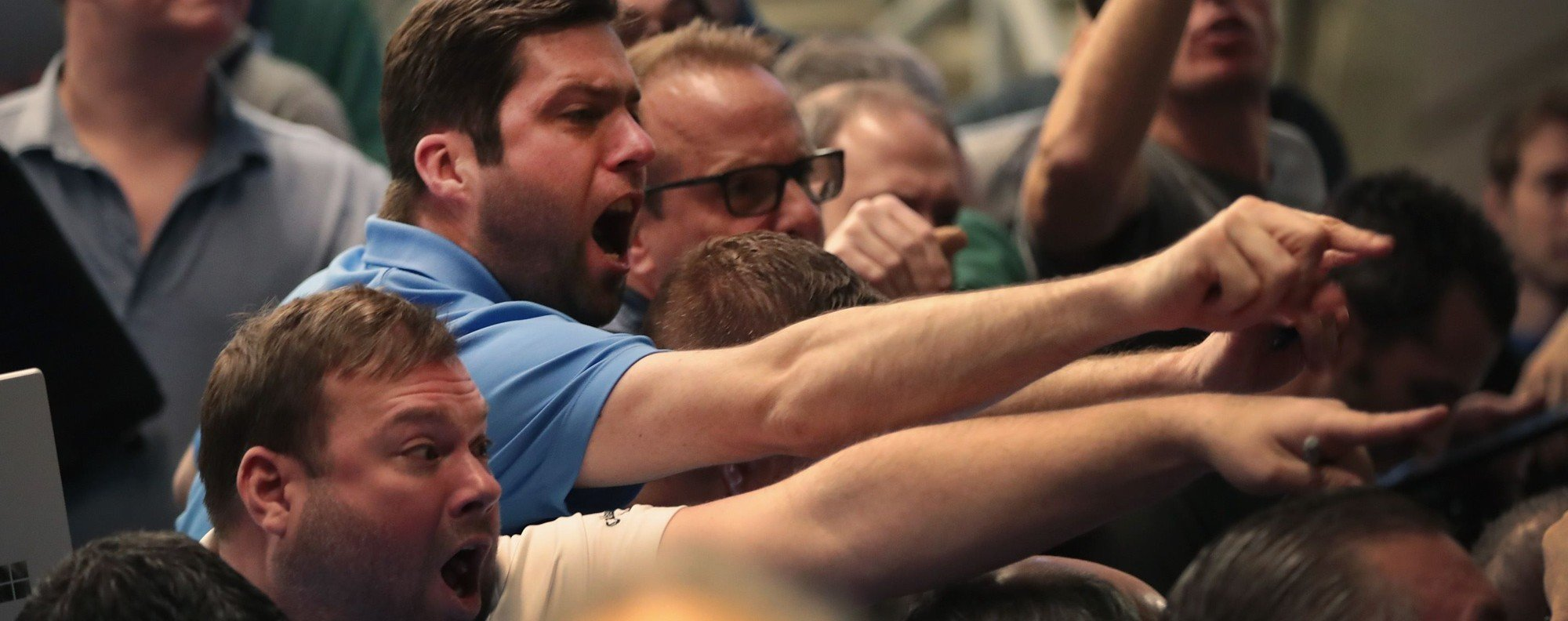 Volatile markets: traders in Chicago this week. Photo: AFP