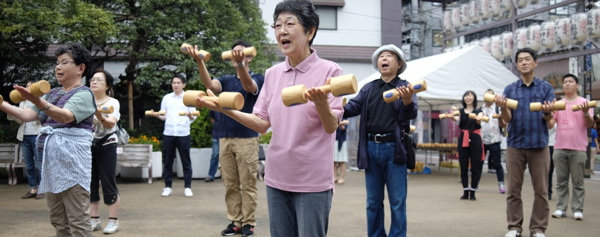 Elderly people exercise in Tokyo. Photo: AFP