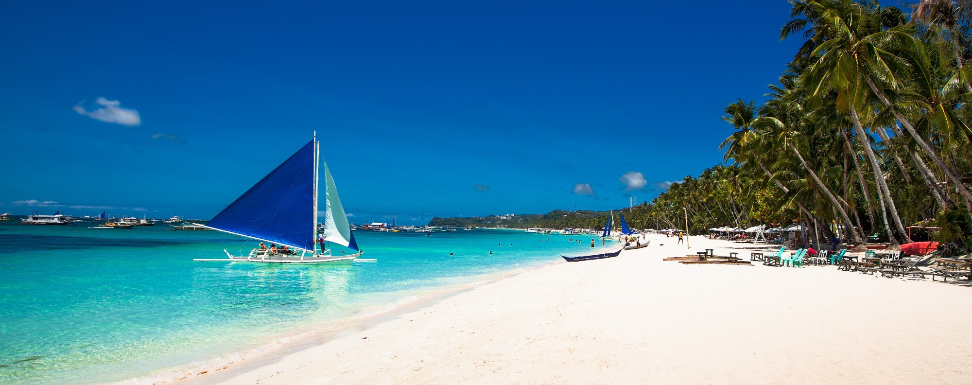 White Beach, on Boracay, in the Philippines.