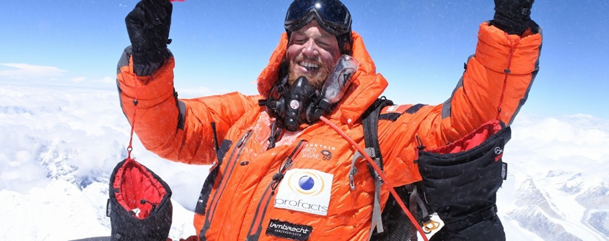 Jelle Veyt on the summit of Everest – the second peak of his seven summit challenge. Photos: Handout