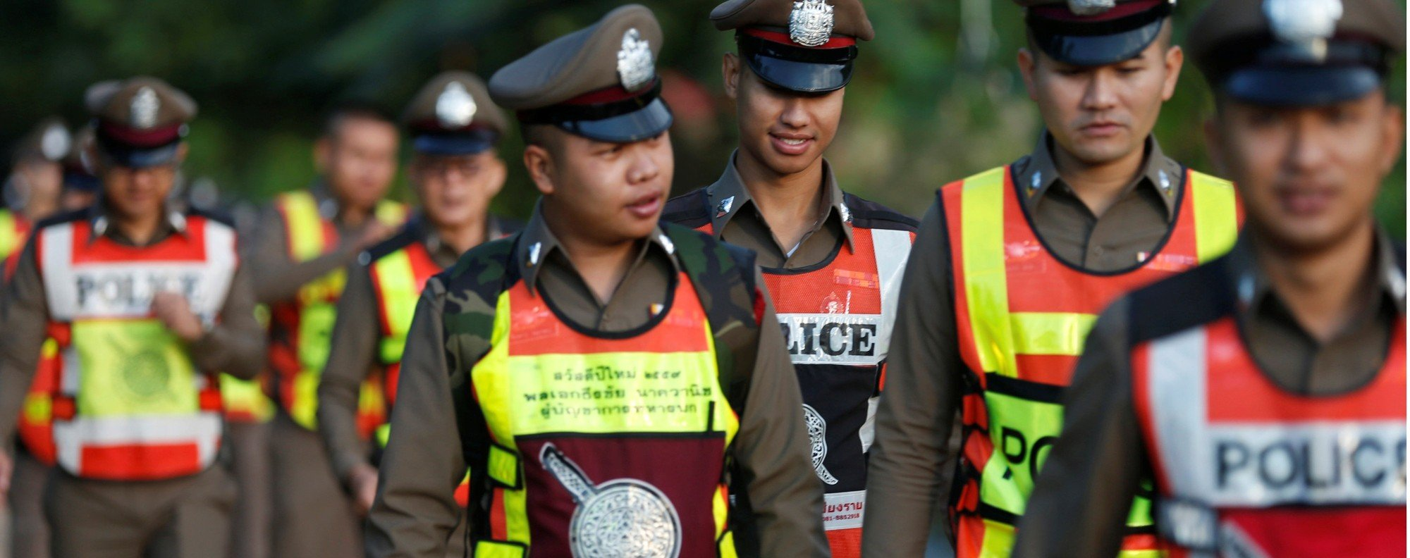 Thai police at the rescue site. Photo: Reuters