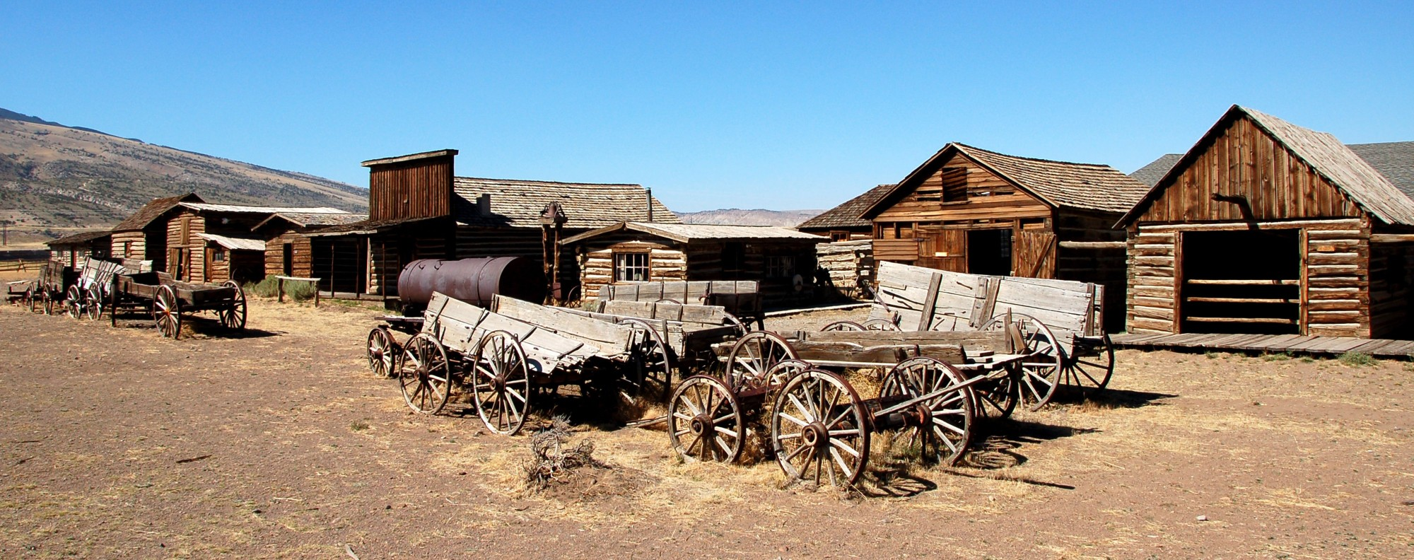 Wild West-style buildings at the Old Trail Town, in Cody, Wyoming. Picture: Alamy