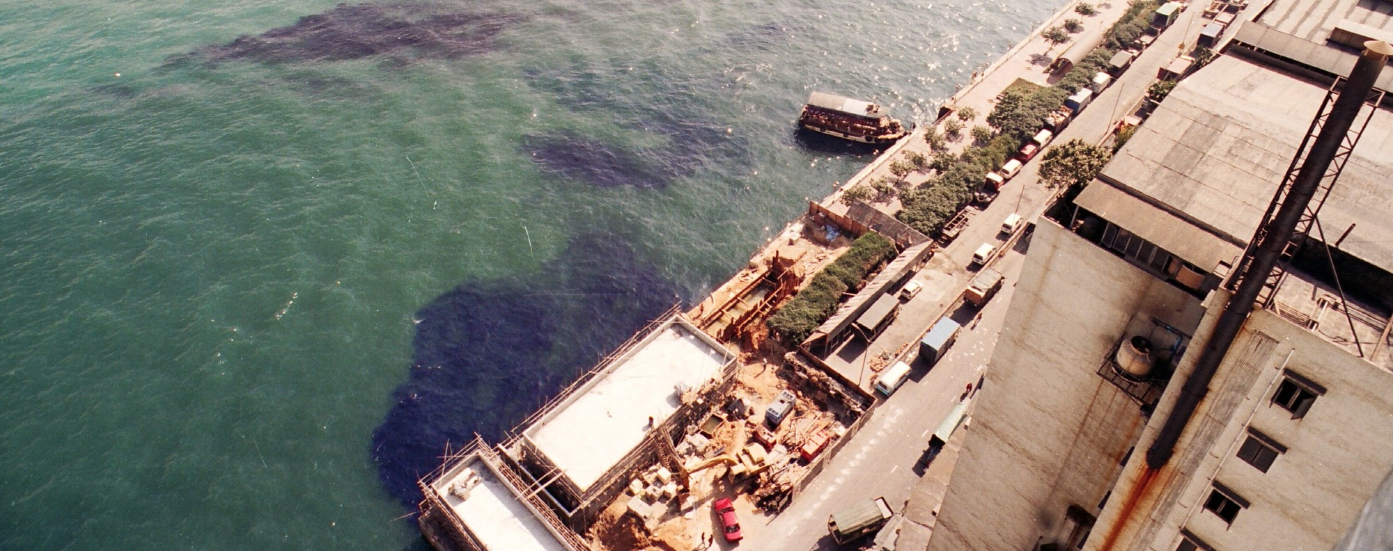 Dye effluent on the bed of a marine channel in Tsing Yi in 1993. Picture: SCMP