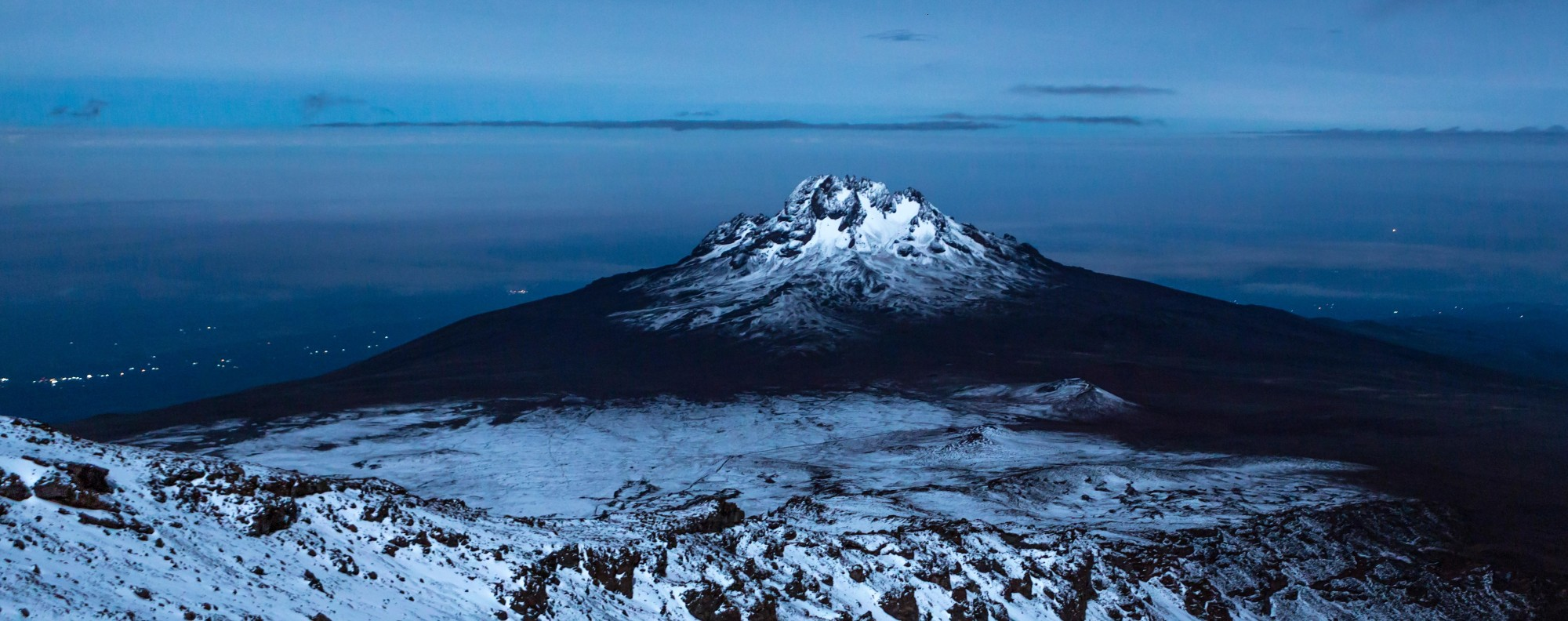Mount Kilimanjaro during a full moon. Picture: Alamy
