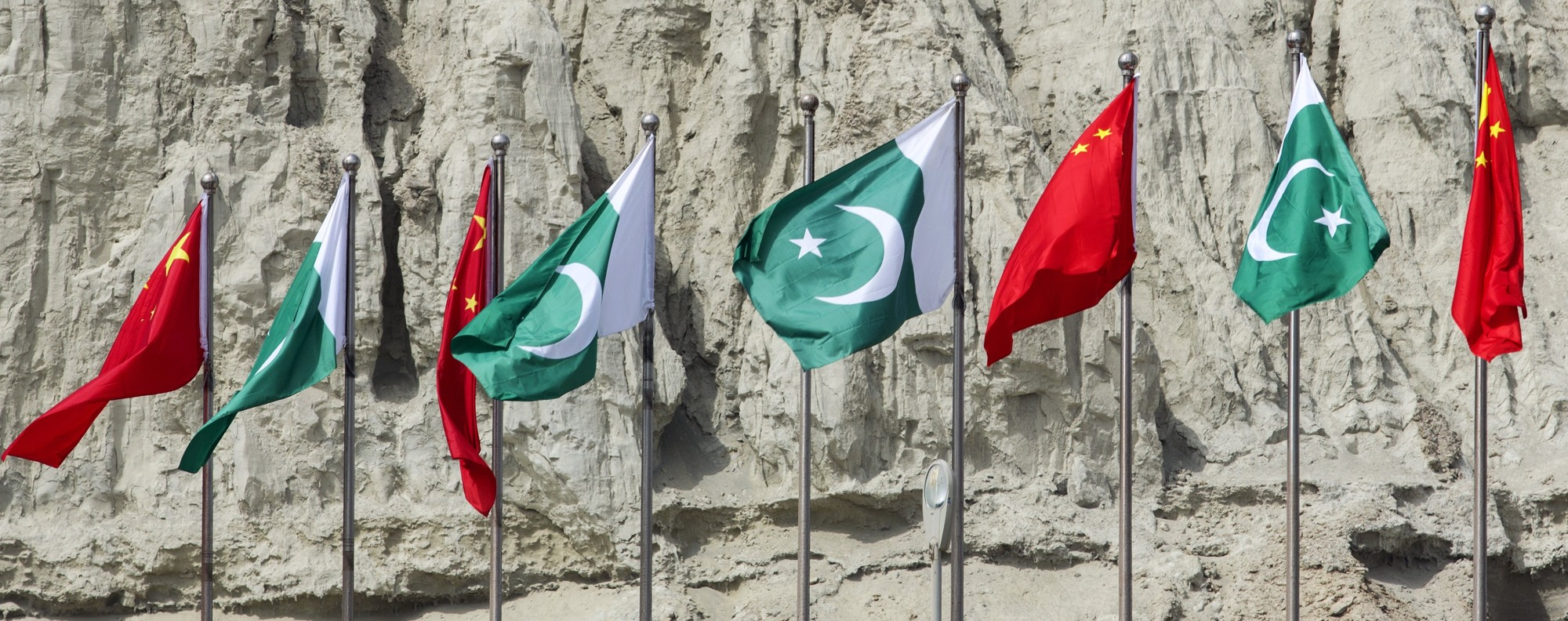Chinese and Pakistani flags fly at Gwadar port. Photo: Bloomberg