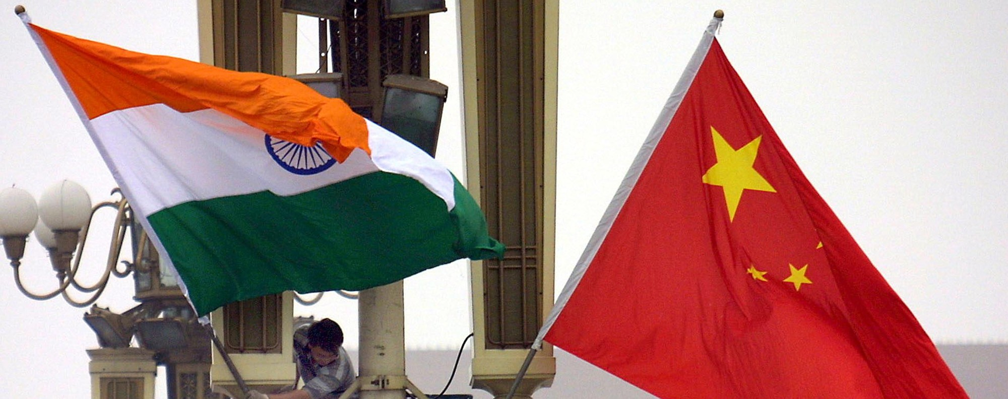 Indian and Chinese flags. Photo: AFP