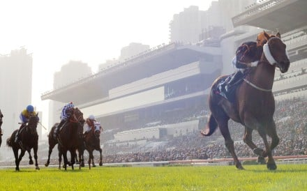 Able Friend (Joao Moreira) leaves his rivals in his wake as he coasts to victory in the Longines Hong Kong Mile. Photos: Kenneth Chan