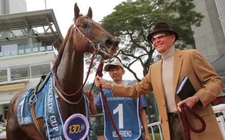 A beaming trainer John Moore after Able Friend blitzed the field in the Stewards' Cup. Photos: Kenneth Chan