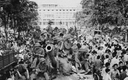 A North Vietnamese Army tank outside the Independence Palace, in Saigon, on April 30, 1975.