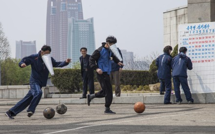 Staff from the Yanggakdo Hotel, in Pyongyang, play cone-faced football. Photos: Ayesha Sitara