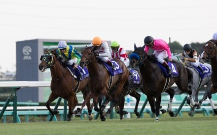 Rich Tapestry finishes along the rail in the Sprinters Stakes, eventually being swamped out wide. Photo: HKJC