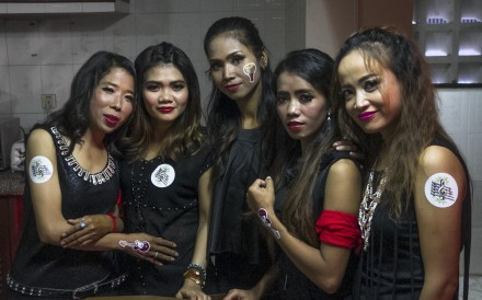 From left:Kao Sochevika, Leng Leakhana, Vun Em, Nam Sophors and Chrek Sopha, of the Messenger Band, during the group's 10th-anniversary celebrations in Phnom Penh.
