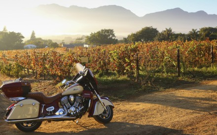 Writer Christopher Baker's Indian Roadmaster at Grande Roche Hotel, Paarl, in South Africa.
