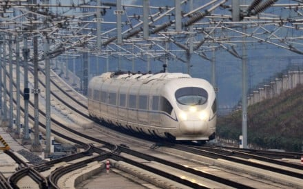 A train running on the Shanghai-Kunming high-speed railway heads for Yiwu Station, east China's Zhejiang Province. Photo: Xinhua