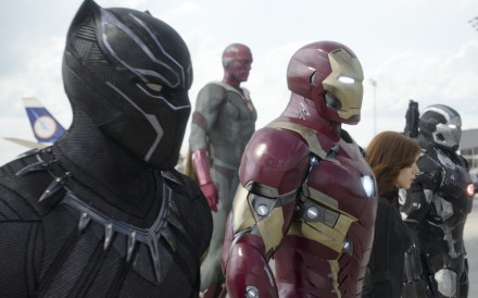 This handout image shows Marvel's Captain America: Civil War..L to R: Black Panther/T'Challa (Chadwick Boseman), Vision (Paul Bettany), Iron Man/Tony Stark (Robert Downey Jr.), Black Widow/Natasha Romanoff (Scarlett Johansson), and War Machine/James Rhodey (Don Cheadle).