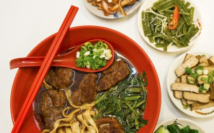 This image shows a bowl of Taiwan beef noodles, at 186 Beef Noodles, in Taipei, Taiwan. 27OCT15 [08JANUARY2016 FOOD LIFE]