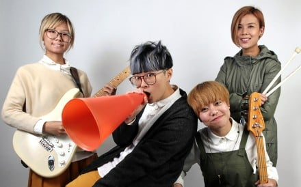 (L to R) Soni Cheng, Soft Liu, YY Wong and Heihei Ng, from a local indie band that use Kongish lyrics, pose for a photograph in SCMP studio. 16DEC15 [2015 FEATURES] SCMP/Bruce Yan