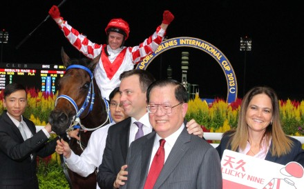 Team Lucky Nine celebrate the super galloper's first KrisFlyer Sprint victory in 2013. Photo: Kenneth Chan