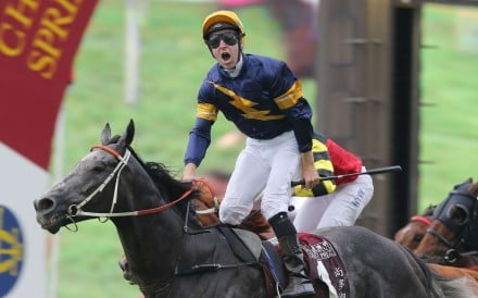 Tommy Berry celebrates as Chautauqua wins the Chairman's Sprint Prize. Photo: Kenneth Chan