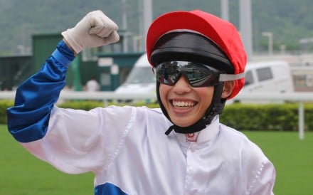 Jack Wong gives a fist pump after winning his first race of the season on Adventurer. He later made it two wins on Flying Moochi. Photo: Kenneth Chan