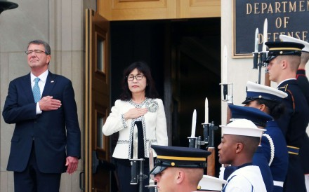US Defence Secretary Ashton Carter with Japanese Defence Minister Tomomi Inada in Washington this month. Photo: Kyodo