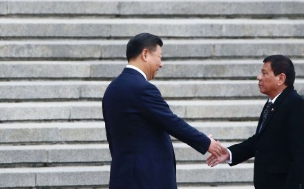 President Xi Jinping (left) with his Philippine counterpart Rodrigo Duterte in Beijing. Photo: AFP