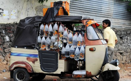 A vendor in Colombo, Sri Lanka, sells fish from his bajaj. Picture: AFP