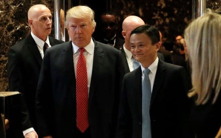 Donald Trump and Jack Ma after their meeting at Trump Tower in New York. Photo: Reuters