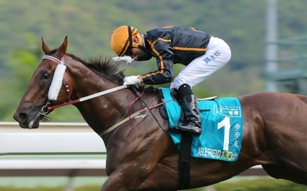 Race 8, Able Friend, ridden by Joao Moreira, won the Champions Mile(Group 1, 1600m) at Sha Tin on 03May15.
