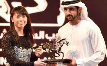 Kei Chiong Ka-kei receives her award from the crown prince of Dubai, Sheikh Hamdan bin Mohammed bin Rashid Al-Maktoum. Photo: Dubai Media Office