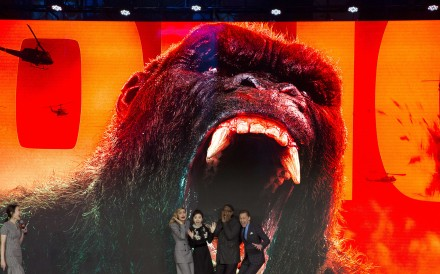 The cast of the Hollywood movie Kong: Skull Island publicising the film at a press event in Beijing last month. Photo: AP