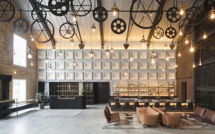 The lobby of The Warehouse Hotel in Singapore.