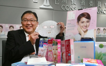 Wong Kam-fai reveals the results of tests on moisturising products. Photo: Edward Wong