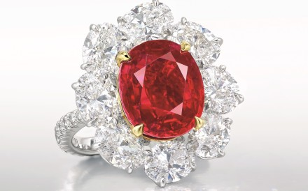 "A ring with the ""Ratnaraj Ruby"" and diamonds sold at Christie's Hong Kong 2016 Autumn Sale."