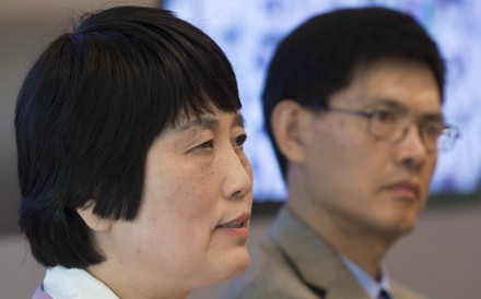 Sherry Chen (left), a US federal government worker, and Xiaoxing Xi, chair of the Physics Department at Temple University, speak about charges against them of spying for China, which were dropped, at a press conference in Washington on September 15, 2015. Photo: AFP
