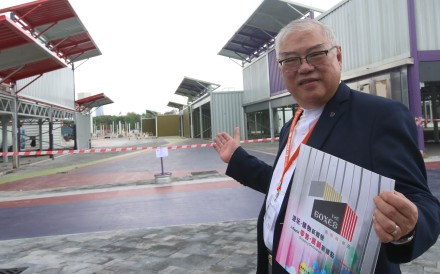 Lawmaker Wong Ting-kwong introduces the pop-up shopping complex in San Tin.Photo: David Wong