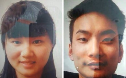 A handout photo made available by the Pakistani police showing pictures of Li Xinheng (left) and Lu Ling Lina who were abducted by unknown armed men in Quetta on May 24. Photo: EPA